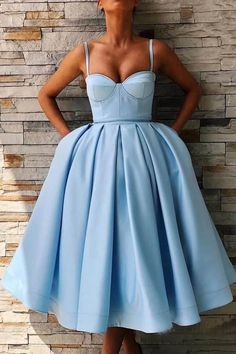Cute Sweetheart Satin Short Prom Dress Tea Length Ball Gown Party Dresses with Spaghetti Straps - Prom Dresses Design Prom Dresses With Pockets, Prom Dresses Blue, Sexy Dresses, Beautiful Dresses, Short Dresses, Fashion Dresses, Dress Prom, Simple Dresses, Dress Wedding