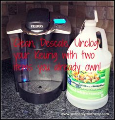 """Nothing can ruin a morning like the """"descale"""" message on your Keurig!  Here's how to fix it, quickly and without spending a cent!"""