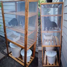 DIY outdoor cat litter box/ catio made using an IKEA Hejne shelf, Plugis litter box, Knodd litter/ supply storage and various hardware supplies. IKEA hack for cat people who can't stand indoor litter boxes.