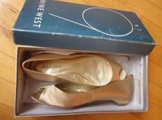 Nine West Satin Light Taupe Rebekah Flat Peep by HerointheVineyard, $40.00 Need WEDDING shoes that have been worn once?