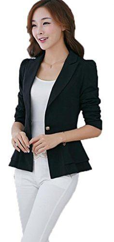 womens Blazer Coat Long Sleeve V-Nec…
