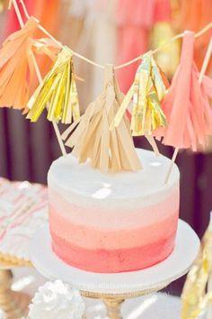 peach, coral, gold cake + tassels!