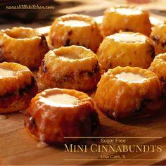 Sugar Free Mini Cinnabundts (Low Carb, S) is a less sweet, donut-like, half batch of my Cinnamon Bundt Cake baked into a cute little mini bundt pan.