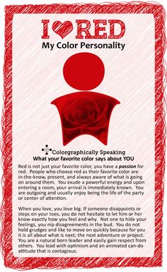 Red:  ♥ #Red? Find out what your favorite color says about you in the I ♥ Color…