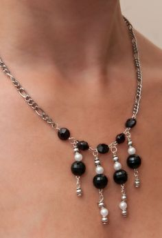 Black Gemstone Necklace for Casual or Evening accessorising on Etsy, £5.00