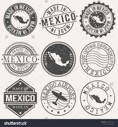 Mexico Set Stamps Travel Stamp Made Stock Vector (Royalty Free) 1338772394