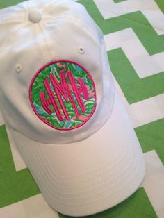 Items similar to Lilly Pulitzer Fabric Patch Monogram Baseball Hat Cap on  Etsy 86d446247347