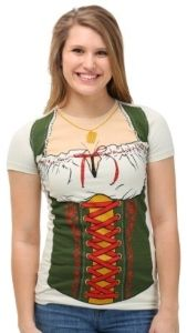 Oktoberfest Beer Maiden Dirndl Print T-Shirt features the print of a classic outfit of a drindl with green halter top and white blouse. Oktoberfest Party, Classic Outfits, Cool T Shirts, Dress Up, Tees, Cotton, Fashion, Dirndl, Moda