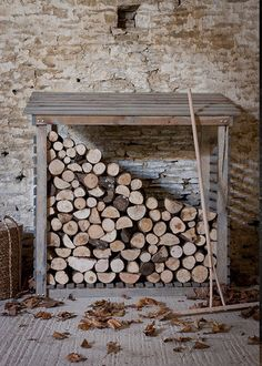 Outdoor wood storage: use a pallet to make the base build wooden frame around. Use corrugated iron instead of wood for exterior