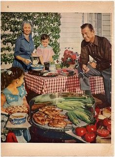 summer bbq  hurrah!  the old fashioned  cookouts are still fun even today! how many hotdogs and hamburgers do yall want?