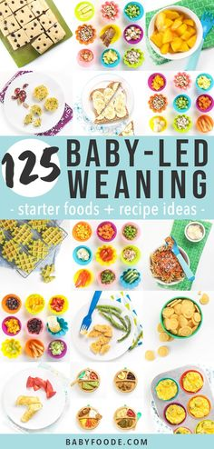 These 125 Baby Led Weaning Foods are going to be your ultimate guide if you are doing BLW with your baby Filled with over 80 starter foods and 45 easy recipes that are perfect for baby 6 months and up babyledweaning starterfoods recipes # Baby Led Weaning 7 Months, Baby Led Weaning First Foods, Baby First Foods, Baby Finger Foods, Baby Led Weaning Lunch Ideas, Baby Snacks, Baby Muffins, Baby Led Weaning Breakfast, Fingerfood Baby