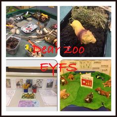 This is the continuous provision for our animal topic in EYFS linked to the story Dear Zoo. Dear Zoo story telling area, small world zoo and writing area.
