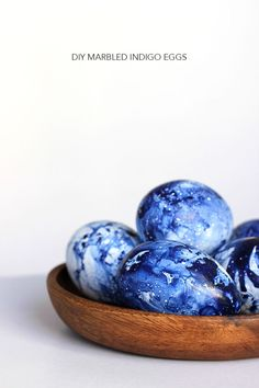 DIY Marbled Indigo Easter Eggs