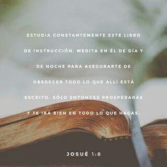 Estudia constantemente este libro de instrucción. Medita en él de día y de noche para asegurarte de obedecer todo lo que allí está escrito. Sólo entonces prosperarás y te irá bien en todo lo que hagas. Josué 1:8