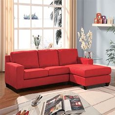 Homeroots Sectional Sofa Reversible Chaise Red Microfiber Mfb Frame Hardwood W Pl Make Sure To Look Into This Incredible Product