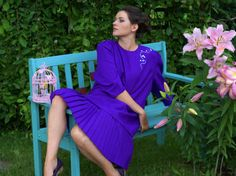 Vintage tailor made loose purple dress Midi by VintagEraShop