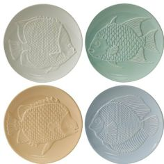 Loveramics Fish Tales 8-Inch Dessert Plate, Set of 4 by Loveramics. $33.35. 4 Each: 8-inch plate. Four assorted fish designs. Dishwasher, oven, and microwave-safe. Stoneware, embossed design. Limited 1-year warranty. This set of 4 embossed stoneware 8-inch plates features a different fish design and color for each plate. The colors are ocean blue, aquamarine, sand and cloudy white. All plates are dishwasher, oven and microwave safe.. Save 17%!