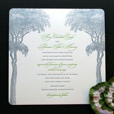 Green Forest Grove Letterpress Wedding Invitation