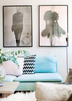 Ikea 'Söderhamn' sofa in baby blue