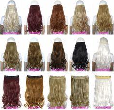 """24 """"(60 ס""""מ) 120 גרם גוף גל 5 קליפים על פיסת שיער קליפ בתוספות שיער 50 צבעים זמינים"""