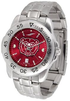 Missouri State University Bears Sport Steel Band Ano-Chrome Men's Watch by SunTime. $63.64. This handsome, eye-catching watch comes with a stainless steel link bracelet. A date calendar function plus a rotating bezel/timer circles the scratch resistant crystal. Sport the bold, colorful, high quality NCAA Missouri State University Bears logo with pride.¶¶The AnoChrome dial option increases the visual impact of any watch with a stunning radial reflection similar to that of t...