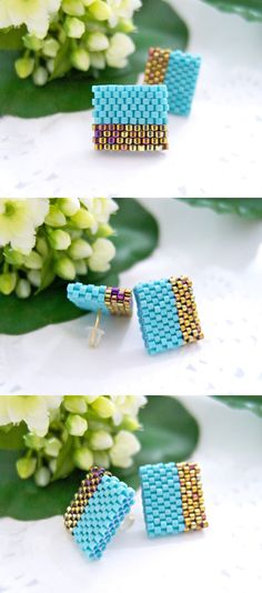 Miyuki delica beads, gold-plated ear studs and rubber ear backing.  A perfect square of half an inch.  Designed and handmade by Jeannie Richard.