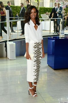 Add a pop to your white or neutral palette with an unexpected pop of pattern - Liya Kebede in Wes Gordon