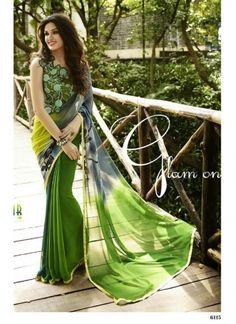 Buy Attractive Green Georgette Printed Saree