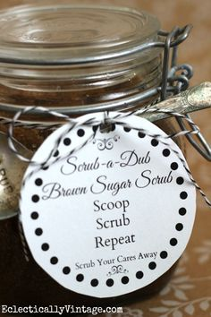 DIY Body Scrub - so easy and perfect gift!  (free printable tags too) eclecticallyvintage.com