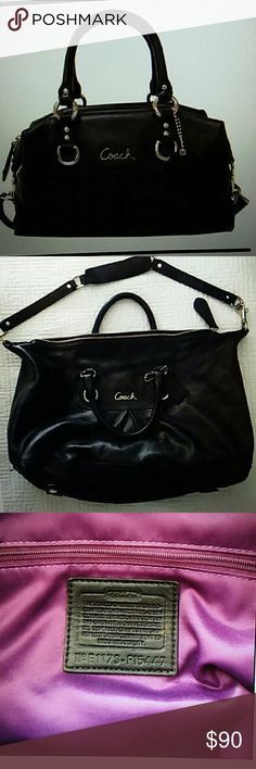 COACH Ashley Black Leather Satchel Like new, no rips tears or stains. Measures approximately 15Lx10Hx5W Smoke free home Coach Bags Satchels