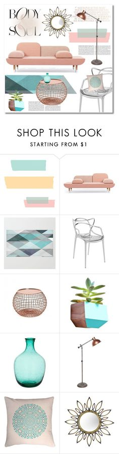 """pink and copper"" by limass on Polyvore featuring interior, interiors, interior design, home, home decor, interior decorating, Kartell, Dot & Bo, Claudia Schiffer and Anjali Hood"