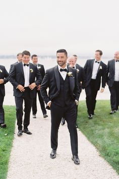 Kristine and Trevor's stunning Newport RI wedding started at the beautiful Emmanuel Church and ended with cocktails and dinner at Belle Mer. Groomsmen Attire Black, Groomsmen Outfits, Groom And Groomsmen Attire, Black Suit Groom, Groom Tuxedo, Groom Suits, Black Tuxedo Wedding, Black And White Wedding Theme, Grey Suit Wedding