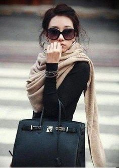 #winter #fashion / oversized camel scarf + black knit