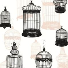 Brewster 450-67330 Avian Black Bird Cages Wallpaper Black Bird Cages ($70) ❤ liked on Polyvore featuring home, home decor, wallpaper, birdcage home decor, pattern wallpaper, black bird wallpaper, brewster home fashions and bird cage home decor