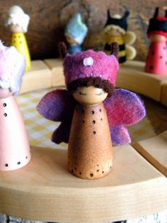 Waldorf Birthday Ring Decor, Butterfly Princess, Small Wooden Peg Doll, jeweled crown, Girl Birthday, pink, purple, brown, wood burned