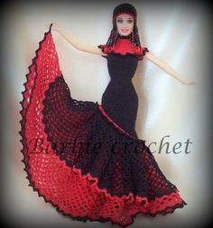 Crochet dress for barbie red and black