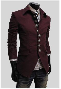 lovely buttons on men's steampunk jacket. Adore the color, cut, and details … lovely buttons on men's steampunk jacket. Look Fashion, Fashion Art, Trendy Fashion, Womens Fashion, Fashion Trends, Fashion Clothes, Fashion Accessories, Guy Fashion, Jackets Fashion