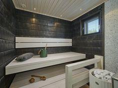Sauna in Mammuttikoti villa Roihu Seinäjoen Asuntomessut Portable Steam Sauna, Building A Sauna, Sauna Shower, Sauna Design, Finnish Sauna, Spa Rooms, Sauna Room, Restroom Design, Saunas