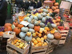 A variety of pumpkins on sale in London's Borough Market Autumn Colours, Vegetables, Pumpkins, Food, Essen, Vegetable Recipes, Meals, Pumpkin, Squash