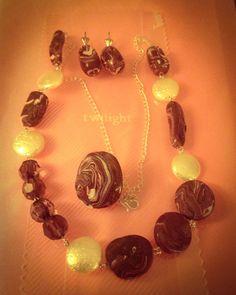 Collar, pendientes y anillo realizado con Arcilla Polimérica