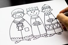 "how to draw the three wise men - this site has ""how to draw"" lessons for the entire nativity scene, plus tons of non-holiday drawing lessons"