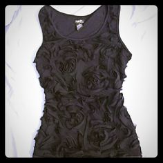 Black rose chiffon bodycon dress Black bodycon dress with chiffon roses all around the front. Hits like a miniskirt. Used a few times as a party dress but I don't have chances to wear it now. Size M. Rue 21 Dresses Mini
