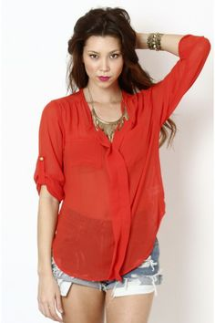 Sheer V-Neck Top- Bright Red-Orange
