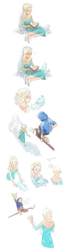 sirpangur:      I was asked to draw Elsa and Jack Frost together, so here is a little strip ^^