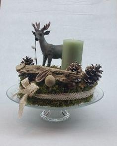 Adventskranz - Tischkranz inkl. Tortenplatte & Pillarkerze - ein Designerstück von My-Sweet-Bambiente bei DaWanda