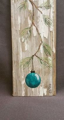 Christmas DIY: Turquoise - Teal Han Turquoise - Teal Hand painted Christmas decoration GIFTS UNDER 25 Pine Branch with Aqua Bulb Reclaimed barnwood Pallet art Shabby chic Arte Pallet, Pallet Art, Pallet Ideas, Pallet Projects, Christmas Projects, Holiday Crafts, Holiday Fun, Rustic Christmas Crafts, Christmas Ideas