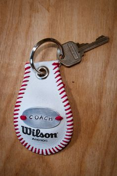 Baseball Keychain by SportzCrazyMama on Etsy, $18.00 Great for coaches or Senior player gifts!  Can also be used as a bag tag for your favorite player!!