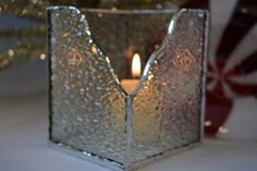 Stained Glass Votive Holder / Candle Holder - Clear Crystal Ice