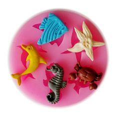 Caliente venta marino animales molde de silicona, herramientas Fondant Cake decorating, molde de silicona