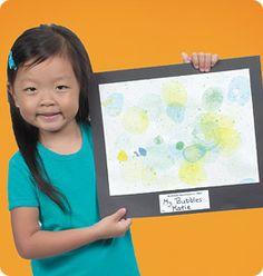 Add food coloring to bubbles and poof! Bubble Art!